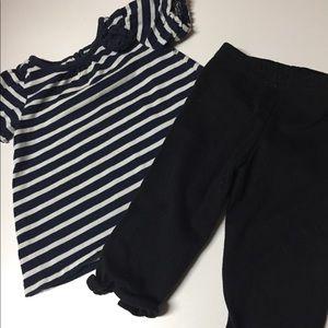 3-6M Place Navy/wh top; black leggings